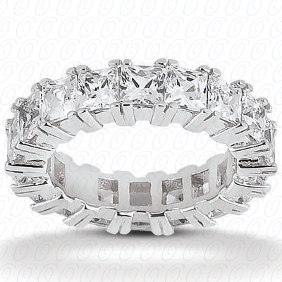14KP Princess Cut Diamond Unique Engagement Ring 3.40 CT. Eternity Wedding Bands Style
