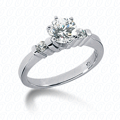 14KW Round Bar Cut Diamond Unique Engagement Ring 0.14 CT. Round Side Stones Style