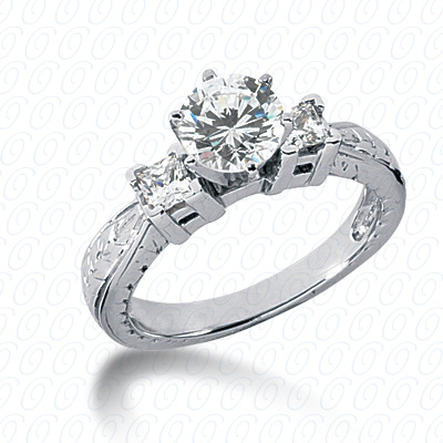 14KP Antique Cut Diamond Unique <br>Engagement Ring 0.34 CT. Engagement Rings Style