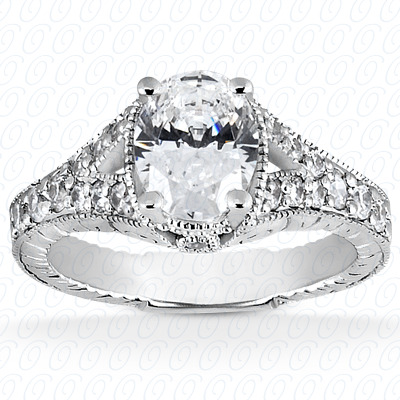 14KP Antique Cut Diamond Unique <br>Engagement Ring 0.32 CT. Engagement Rings Style