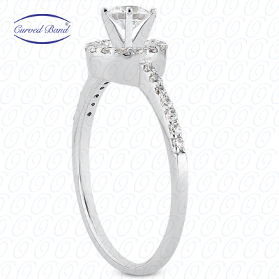 14KP Halo Petite  Cut Diamond Unique Engagement Ring