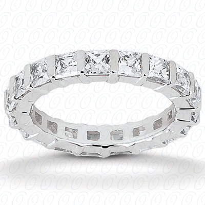 14KP Princess Cut Diamond Unique Engagement Ring 1.15 CT. Eternity Wedding Bands Style