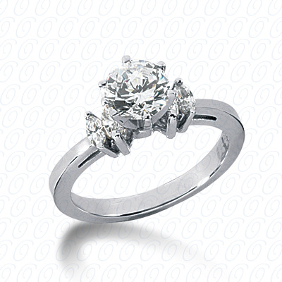 14KW Marquise Side Stones Cut Diamond Unique Engagement Ring 0.26 CT. Semi Mount Style