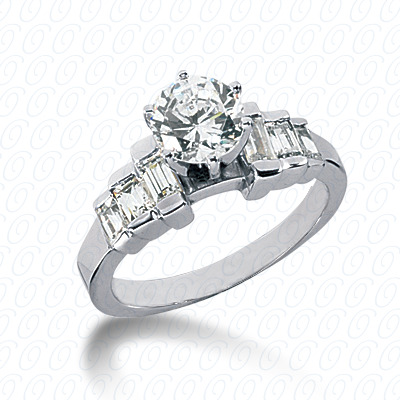 14KW Baguette Bar Cut Diamond Unique Engagement Ring 0.56 CT. Bq Side Stones  Style