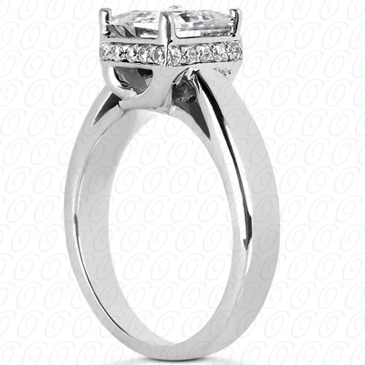 14KP Princess Cut Diamond Unique <br>Engagement Ring 0.03 CT. Solitaires Style