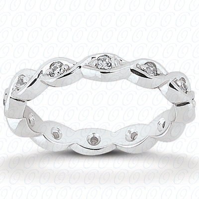 14KP  Round Cut Diamond Unique <br>Engagement Ring 0.22 CT. Eternity Wedding Bands Style