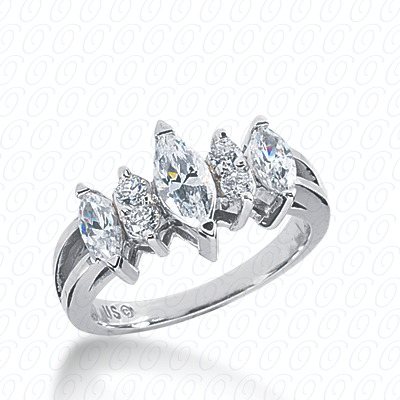 14KW Mq+Rd Cut Diamond Unique Engagement Ring 1.20 CT. Combinations Style