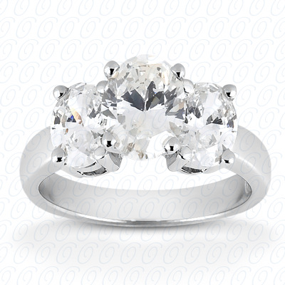 14KW Oval Side Stones Cut Diamond Unique Engagement Ring 0.40 CT. Semi Mount Style