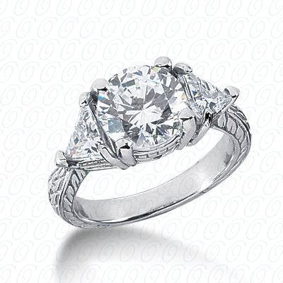 14KW Antique Cut Diamond Unique Engagement Ring 0.70 CT. Engagement Rings Style