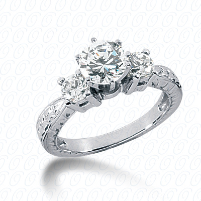 14KW Antique Cut Diamond Unique Engagement Ring 0.50 CT. Engagement Rings Style