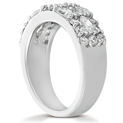 14KW Mq+Rd Cut Diamond Unique Engagement Ring 1.86 CT. Combinations Style