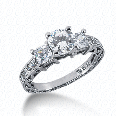 14KW Antique Cut Diamond Unique Engagement Ring 0.99 CT. Engagement Rings Style