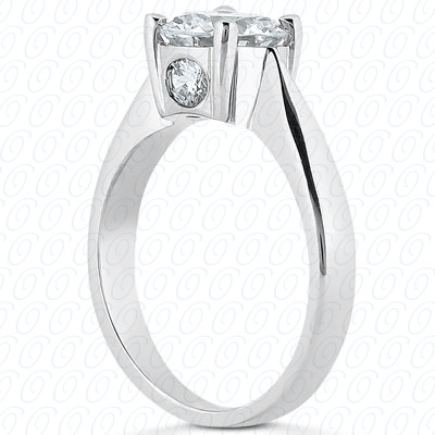 14KP Round Cut Diamond Unique <br>Engagement Ring 0.12 CT. Solitaires Style