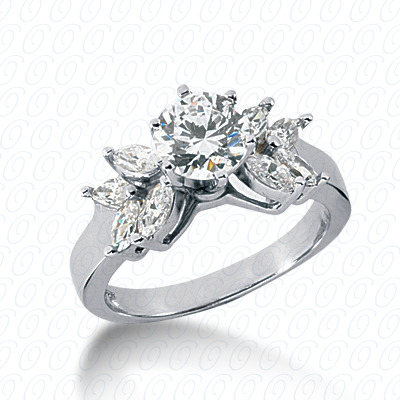 14KW Marquise Side Stones Cut Diamond Unique Engagement Ring 0.56 CT. Semi Mount Style