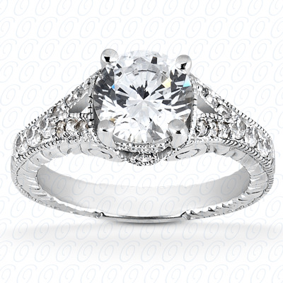18KP Fancy Cut Diamond Unique Engagement Ring