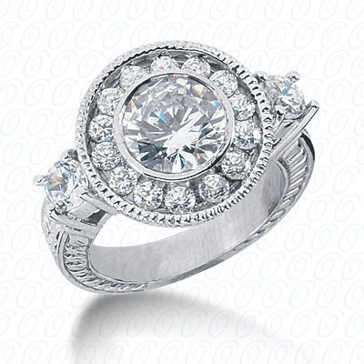 14KW Antique Cut Diamond Unique Engagement Ring 1.06 CT. Engagement Rings Style