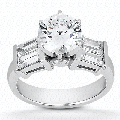 14KW Baguette Bar Cut Diamond Unique Engagement Ring 0.24 CT. Bq Side Stones  Style
