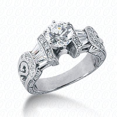 14KP Antique Cut Diamond Unique <br>Engagement Ring 0.66 CT. Engagement Rings Style