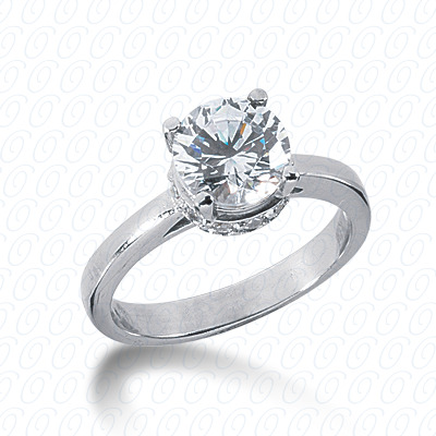 14KP Round Cut Diamond Unique <br>Engagement Ring 0.24 CT. Solitaires Style