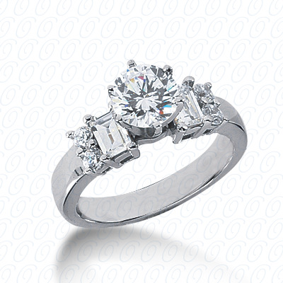 14KP Bq+Rd Cut Diamond Unique <br>Engagement Ring 0.70 CT. Combination Style