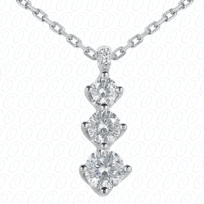 14KW Three Stones Cut Diamond Unique Engagement Ring 1.01 CT. Pendants Style