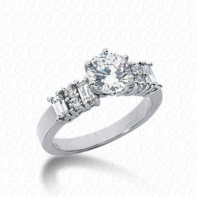 PLAT Bq+Rd Cut Diamond Unique Engagement Ring