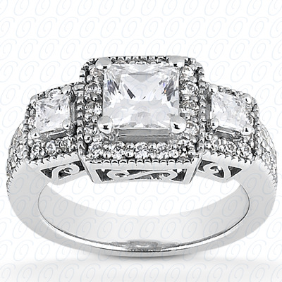 14KP Fancy Rings Cut Diamond Unique <br>Engagement Ring 1.04 CT. Fancy Rings Style