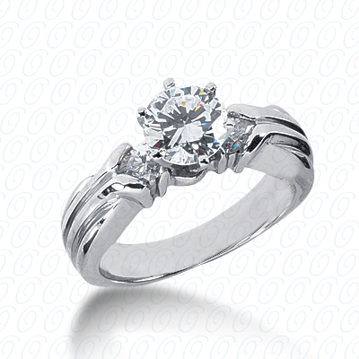 14KW Pear Side Stones Cut Diamond Unique Engagement Ring 0.28 CT. Semi Mount Style