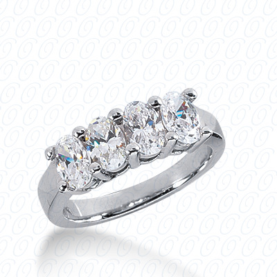 14KP Oval 2.00 CT. Wedding Bands