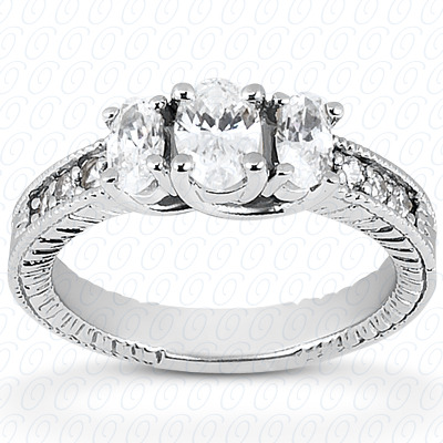 14KP Antique Cut Diamond Unique <br>Engagement Ring 0.53 CT. Engagement Rings Style