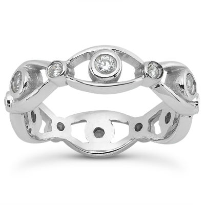 14KP  Round Cut Diamond Unique <br>Engagement Ring 0.27 CT. Eternity Wedding Bands Style