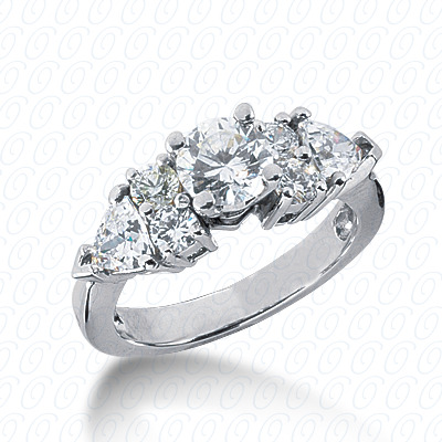 14KW Pear Side Stones Cut Diamond Unique Engagement Ring 1.04 CT. Semi Mount Style