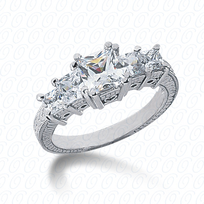 14KP Antique Cut Diamond Unique <br>Engagement Ring 0.88 CT. Engagement Rings Style