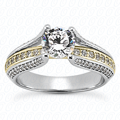 14KP Antique Cut Diamond Unique <br>Engagement Ring 0.48 CT. Engagement Sets Style