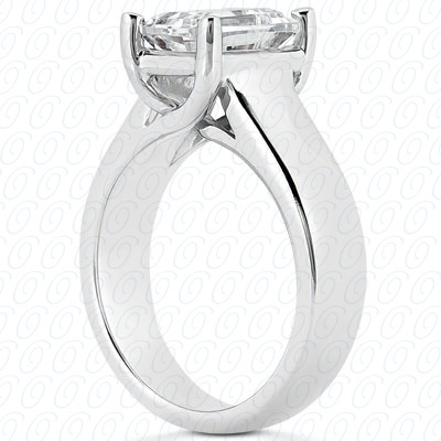 14KP Emerald Cut Diamond Unique <br>Engagement Ring 0.00 CT. Solitaires Style