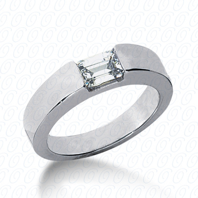 14KP Emerald Cut Diamond Unique Engagement Ring