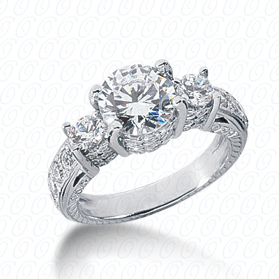 14KP Antique Cut Diamond Unique <br>Engagement Ring 1.21 CT. Engagement Rings Style