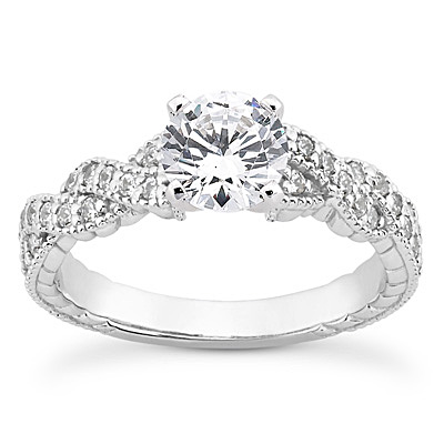 14KP Antique Cut Diamond Unique <br>Engagement Ring 0.21 CT. Engagement Sets Style
