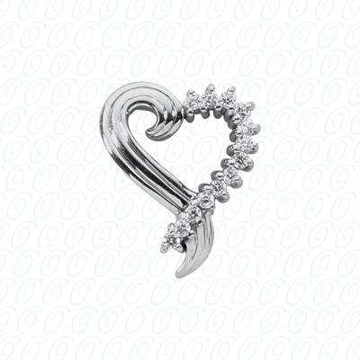 14KW Hearts Cut Diamond Unique Engagement Ring 0.48 CT. Pendants Style