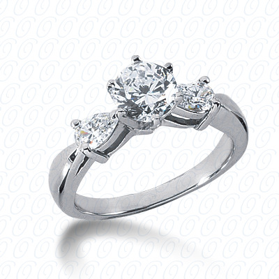 14KW Pear Side Stones Cut Diamond Unique Engagement Ring 0.64 CT. Semi Mount Style