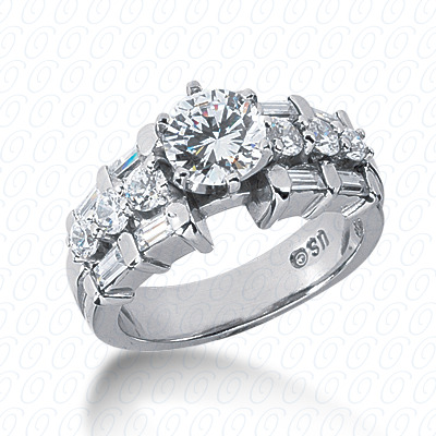 14KP Bq+Rd Cut Diamond Unique <br>Engagement Ring 1.02 CT. Combination Style