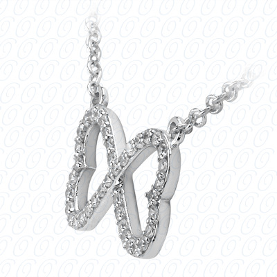 14KW Hearts Cut Diamond Unique Engagement Ring 0.39 CT. Pendants Style