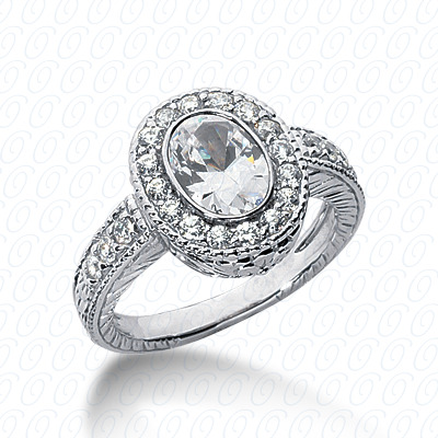 14KP Antique Cut Diamond Unique <br>Engagement Ring 0.47 CT. Engagement Rings Style