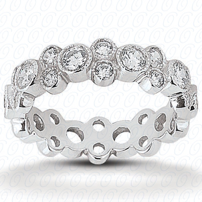 14KP  Round Cut Diamond Unique Engagement Ring 1.28 CT. Eternity Wedding Bands Style