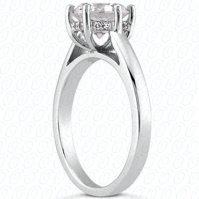 14KP Round Cut Diamond Unique <br>Engagement Ring 0.04 CT. Solitaires Style