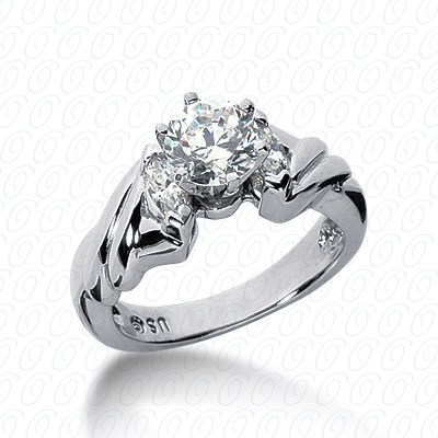 14KW Marquise Side Stones Cut Diamond Unique Engagement Ring 0.30 CT. Semi Mount Style