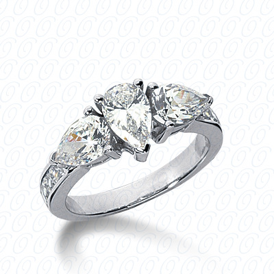 14KW Pear Side Stones Cut Diamond Unique Engagement Ring 0.40 CT. Semi Mount Style