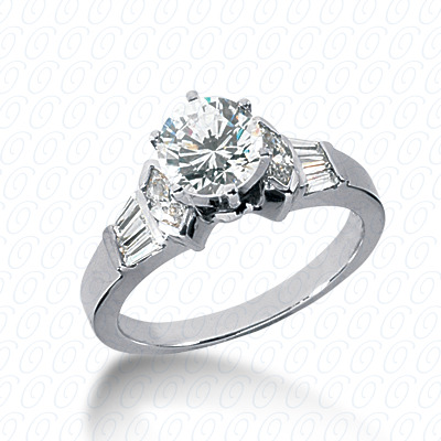 14KW Marquise Side Stones Cut Diamond Unique Engagement Ring 0.58 CT. Semi Mount Style