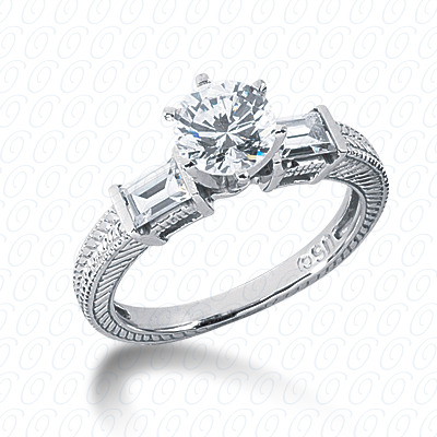 14KW Antique Cut Diamond Unique Engagement Ring 0.90 CT. Engagement Rings Style