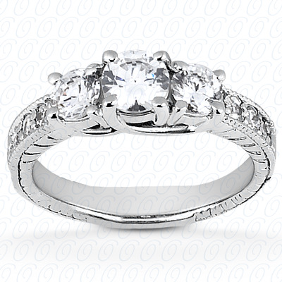 14KP Antique Cut Diamond Unique <br>Engagement Ring 0.45 CT. Engagement Rings Style